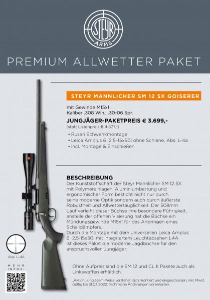 STEYR MANNLICHER Jägerset SM12 SX Kurzlauf mit Gewinde und ZF Leica Amplus6 2,5-15x50i