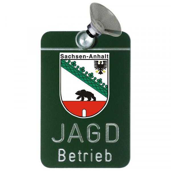 """Autoschild """"Jagdbetrieb"""" Wappen: Sachsen-Anhalt"""