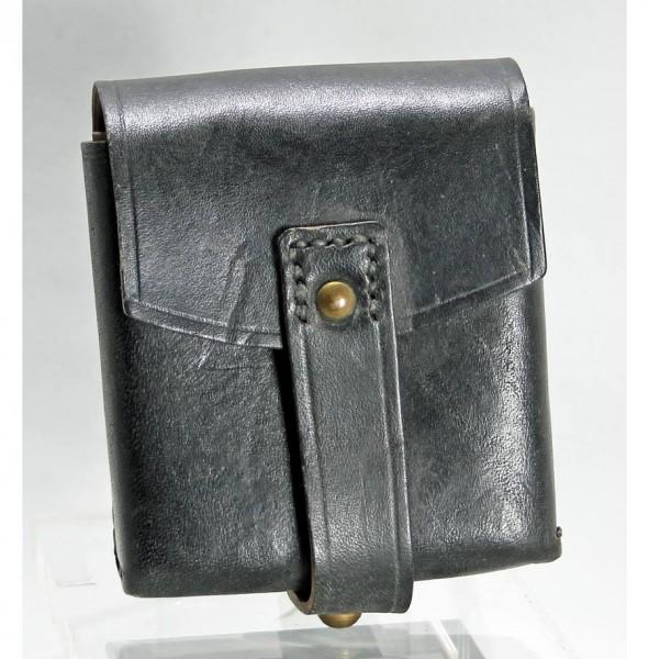 Italienische Patronentasche Leder schwarz