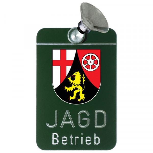 """Autoschild """"Jagdbetrieb"""" Wappen: Rheinland-Pfalz"""