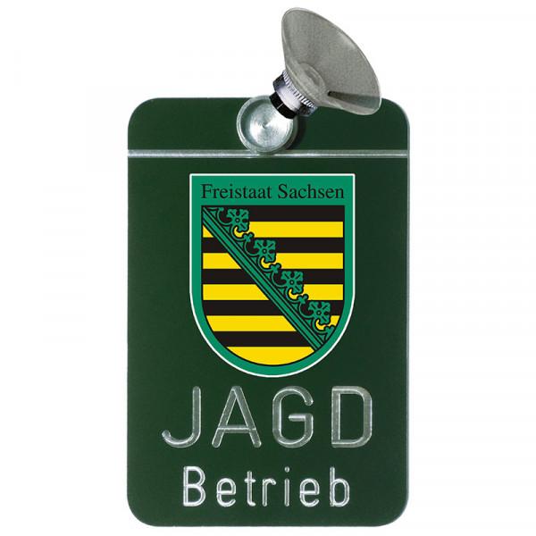 """Autoschild """"Jagdbetrieb"""" Wappen: Sachsen"""
