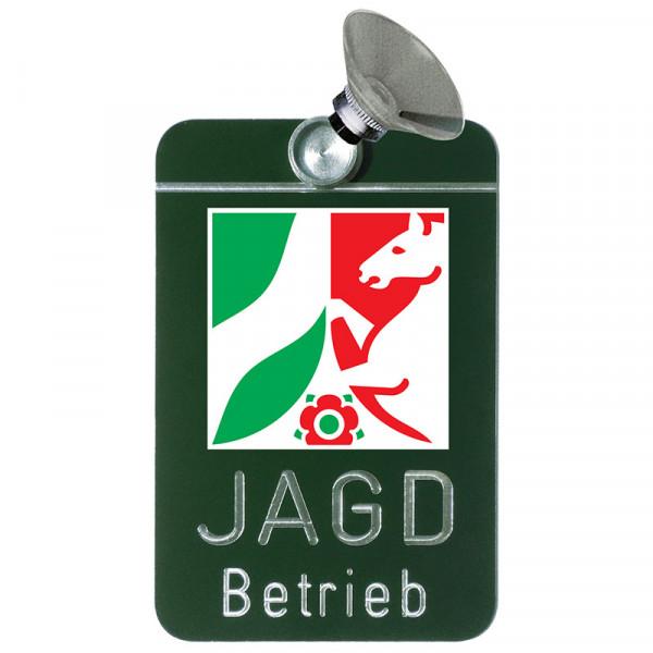 """Autoschild """"Jagdbetrieb"""" Wappen: Nordrhein-Westfalen"""