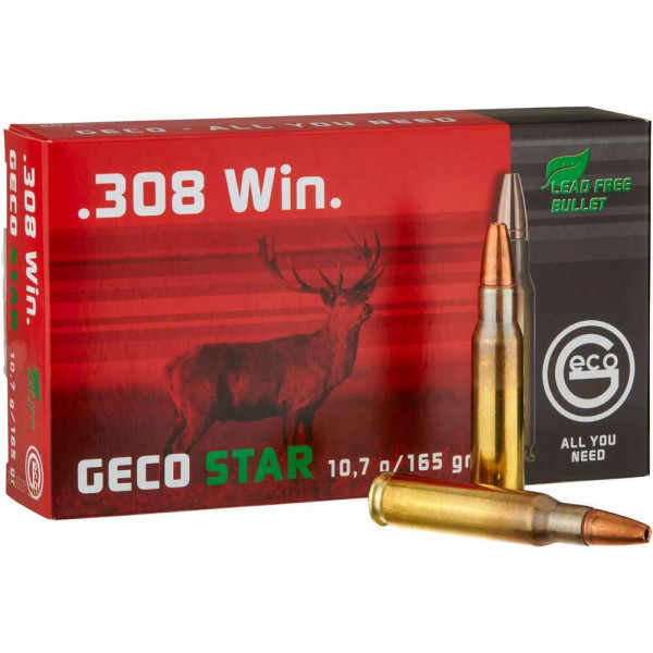 Jagdpatronen .308 WIN GECO STAR 10,7G 165GR bleifrei