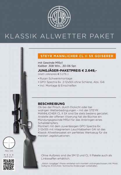 STEYR MANNLICHER CLII SX Jägerset m. Gewinde M15x1 mit ZF GPO Spectra 2-12x50 LA4i