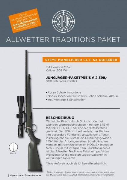 STEYR MANNLICHER CLII SX Jägerset m. Gewinde M15x1 mit ZF Noblex 2-12x50 LA4i