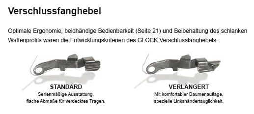 Verschlussfanghebel Lang für Glock 17