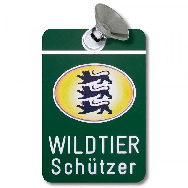 """Autoschild """"Jagdbetrieb"""" Schild """"Wildtierschützer"""" mit Wappen Baden-Württemberg"""