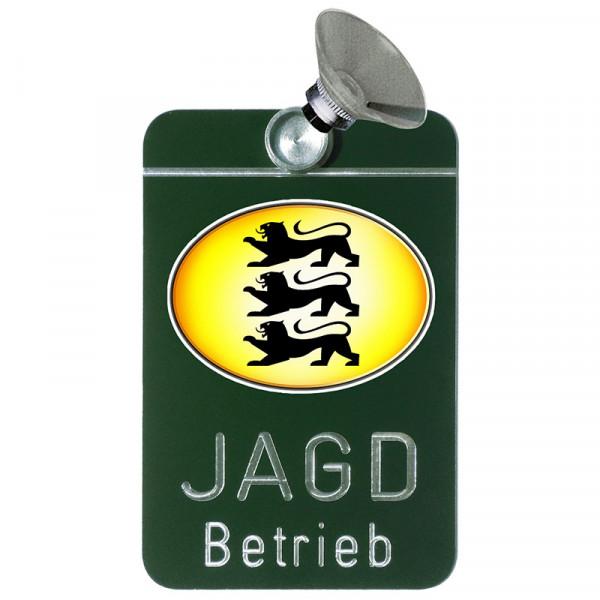 "Autoschild ""Jagdbetrieb"" Wappen: Baden-Württemberg"