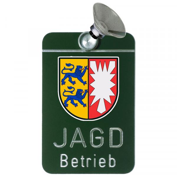 """Autoschild """"Jagdbetrieb"""" Wappen: Schleswig-Holstein"""