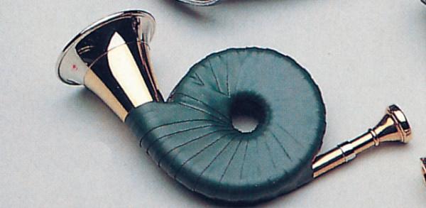 Taschen-Jagdhorn mit grüner Kunstleder-Umwicklung